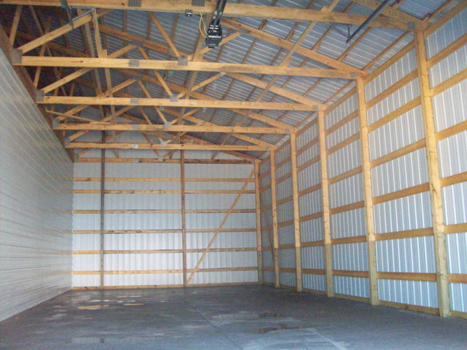 Raelyn builders garages and pole barns for Pole building interior ideas